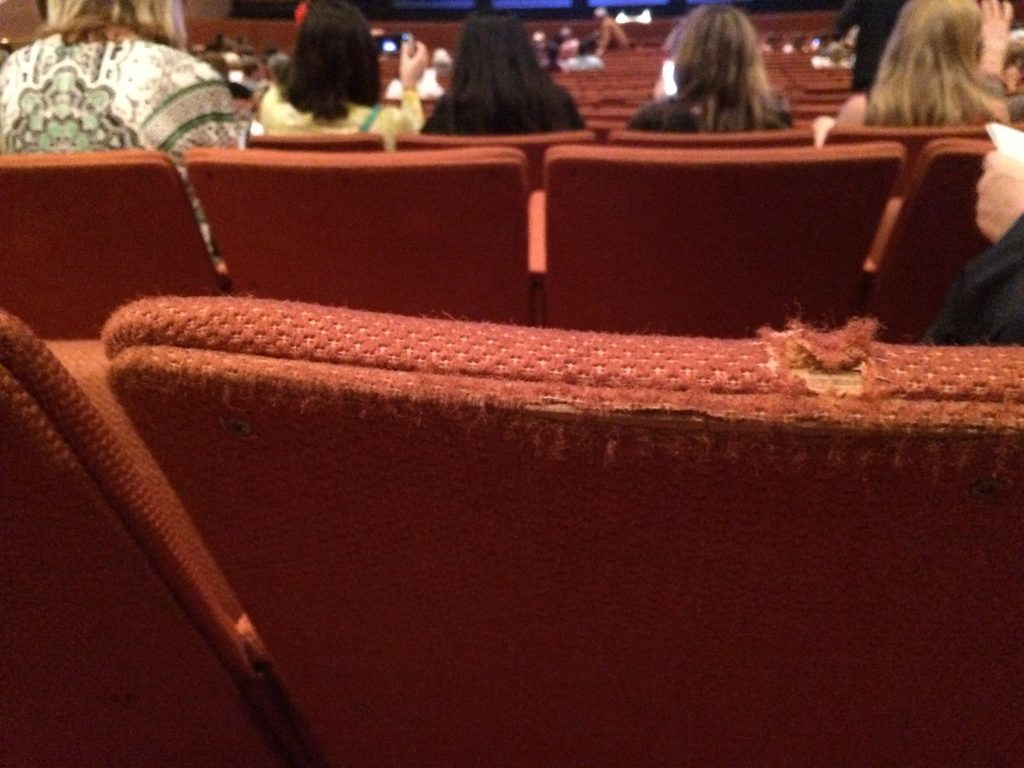 Tattered, dirty seats at ASU's Gammage theater October 2015.