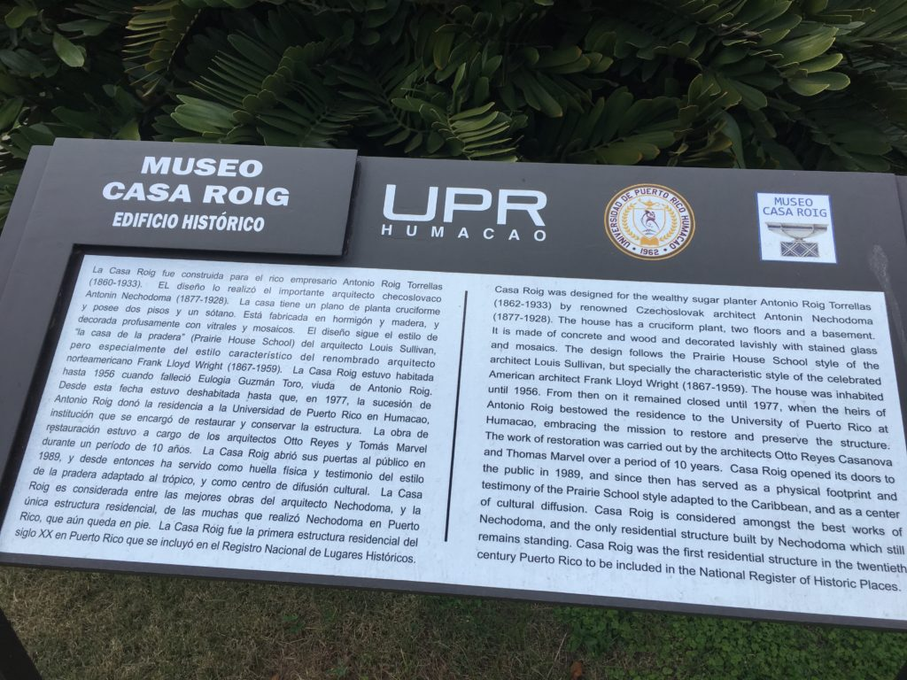 Casa Roig Museum History Plaque