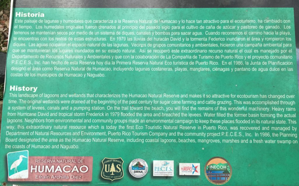 Humacao Natural Reserve History sign