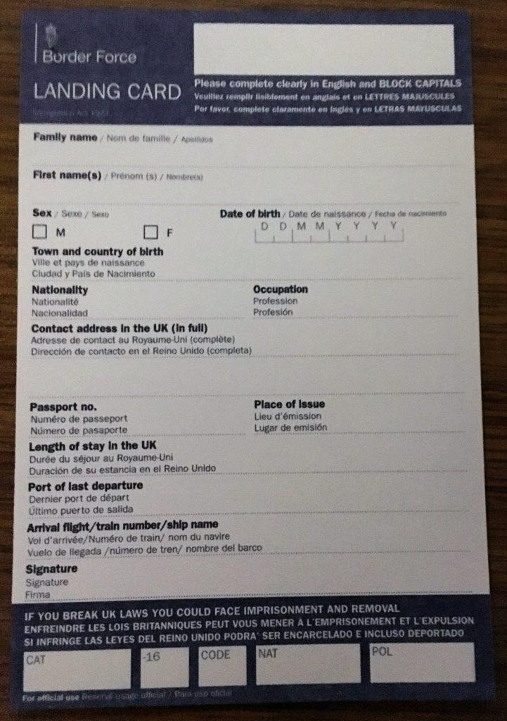 UK Landing Card