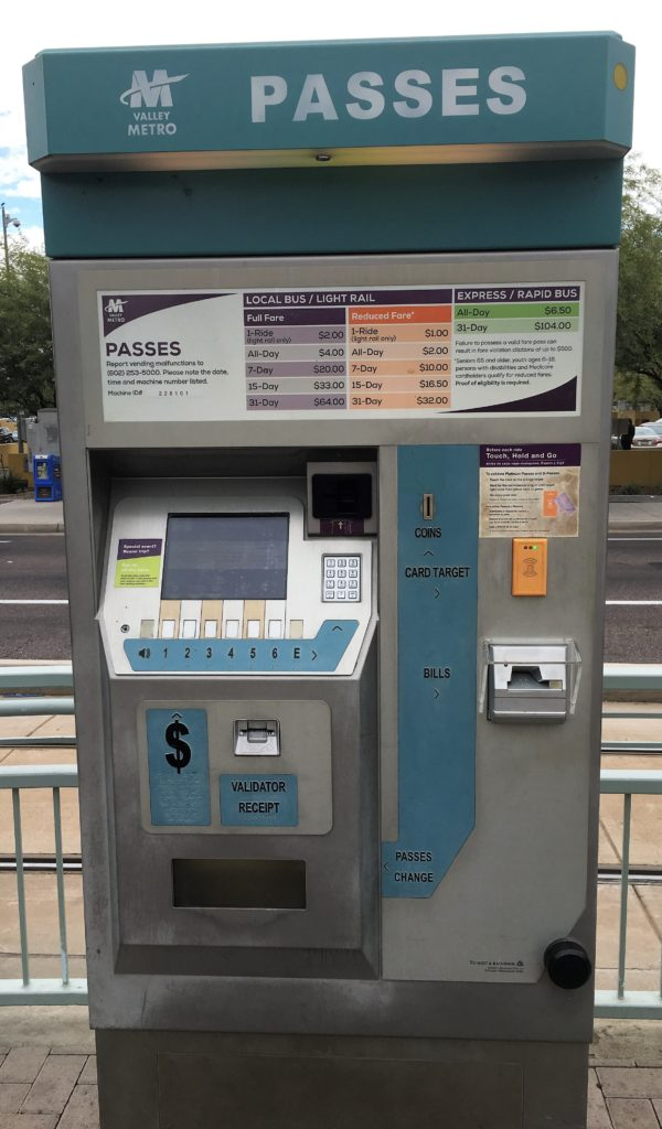 Tempe Light Rail Metro Pass Kiosk