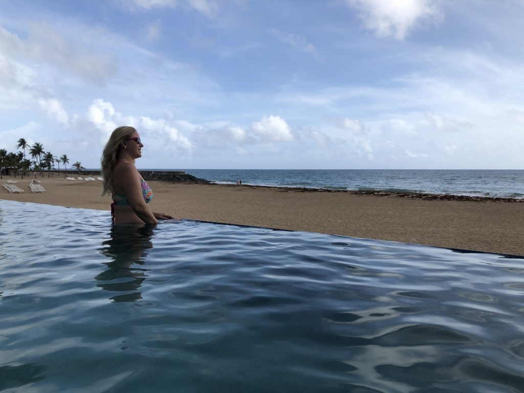 JenThereDoneThat looking out at the Atlantic Ocean Ocean from the Terrace Pool at La Concha Resort