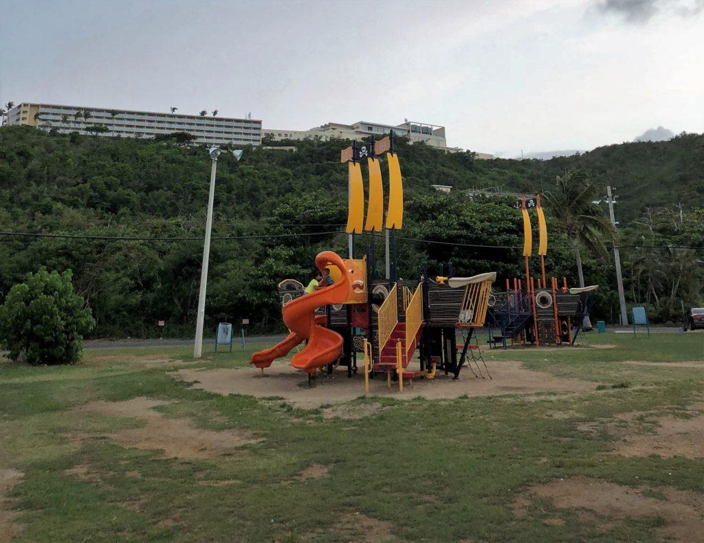 Las Croabas Childrens Park, Fajardo Puerto Rico with views of El Conquistador Resort in the background