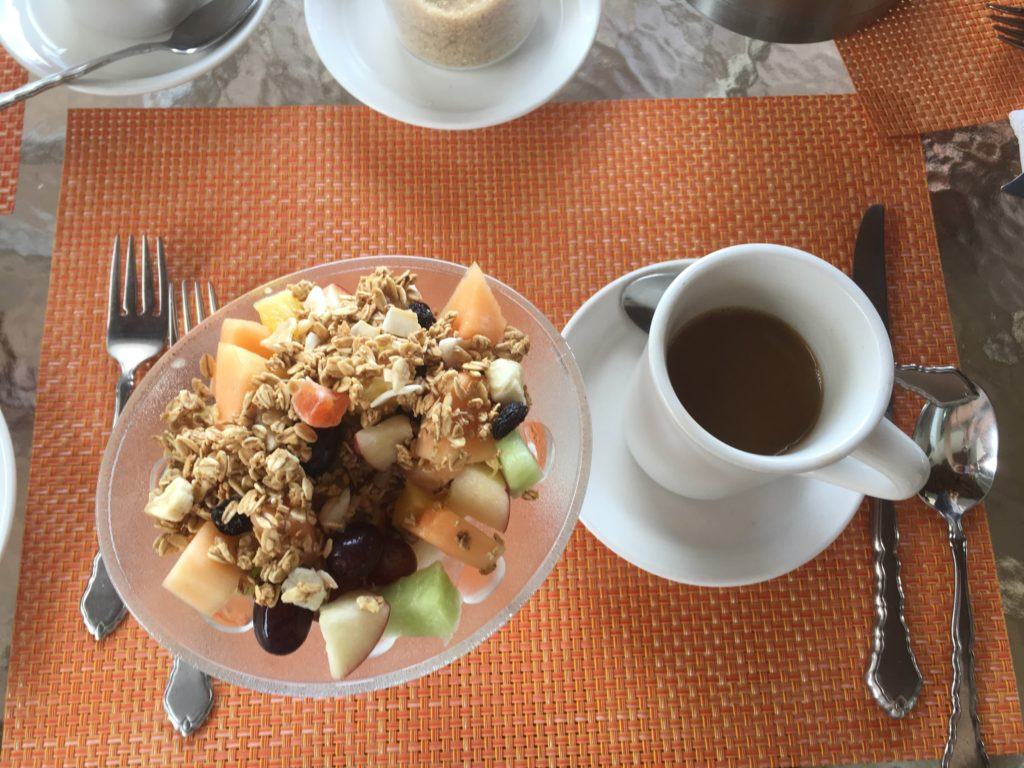 Bella Vista Breakfast at Mount Nevis hotel, coffee with a fresh fruit granola to start the day