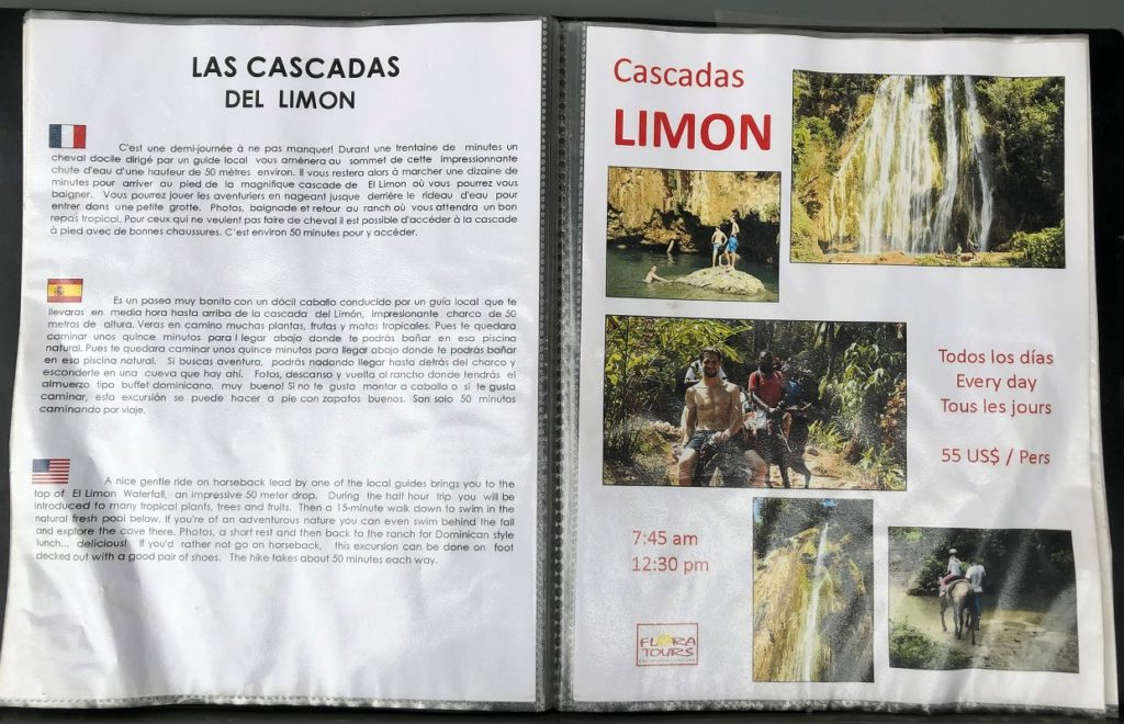 Flora Tours price sheet for Cascadas Limon guided tour plus transportation from Las Terrenas, Dominican Republic