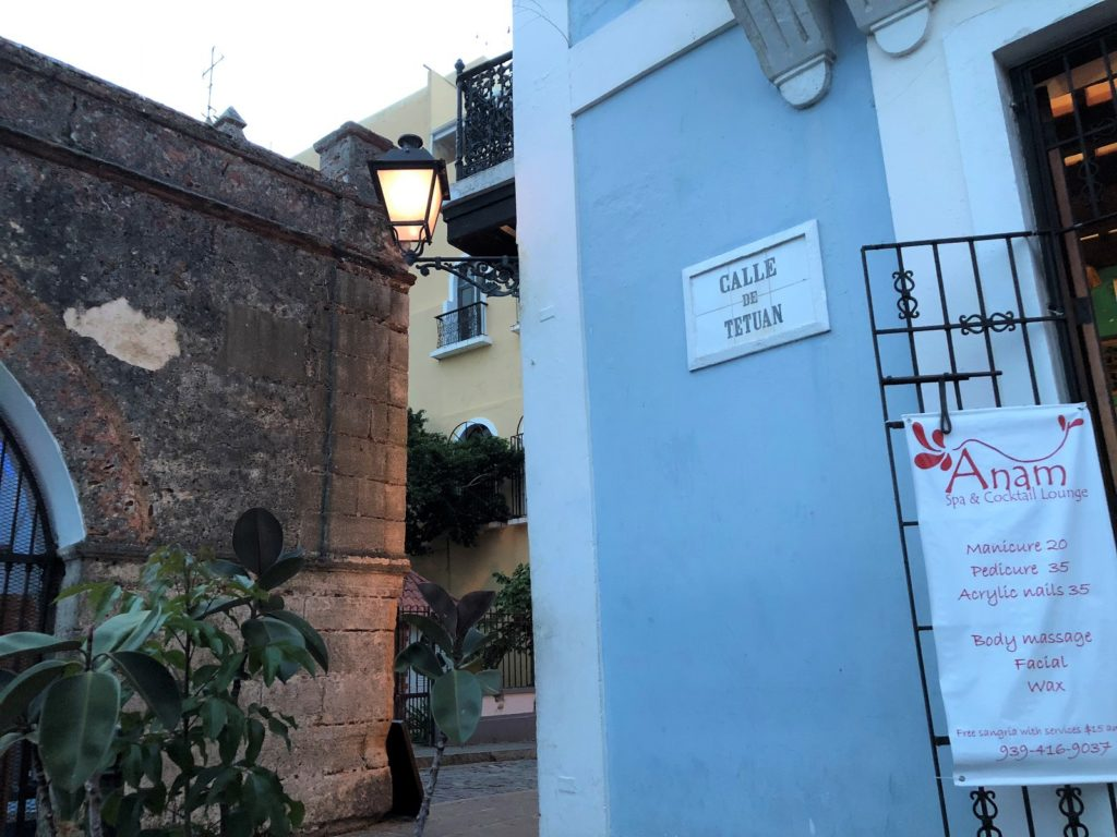 Anam Spa and Cocktail Lounge on the corner of Calle de Tetuan and Calle del Cristo in Old San Juan, Puerto Rico