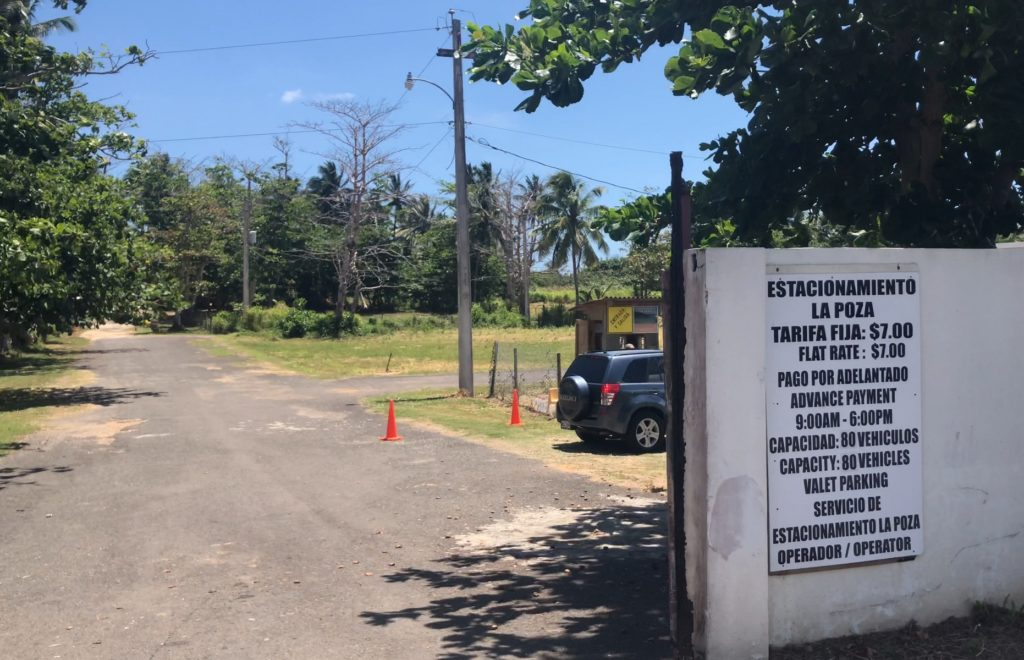 Estacionamiento La Poza, paid parking lot with access to the Natural Pools of La Poza del las Mujeres and Piscinas Naturales, Manati, Puerto Rico JenThereDoneThat