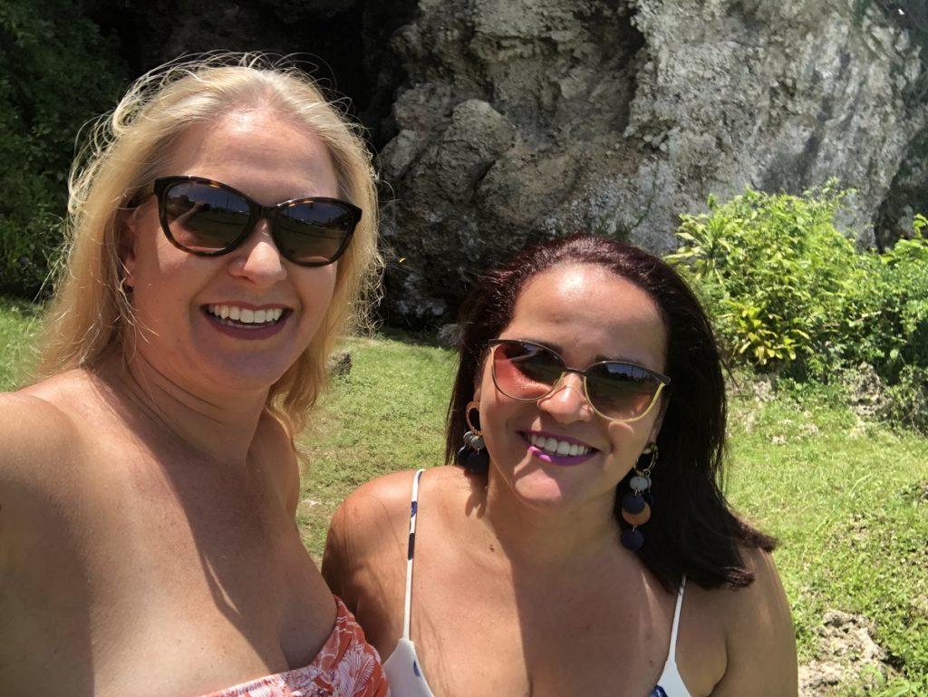 Jen There Done That and Olga Maria (Dreams in Heels) at Cueva Maria de la Cruz, Loiza, Puerto Rico